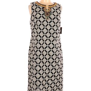 Ellen Tracy 8 Beaded Neck embroidered Dress pencil